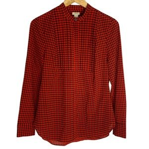 J. Crew Red Plaid Flannel Long Sleeve Blouse